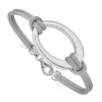 Sterling Silver Rhodium-plated Brushed Oval Mesh Knotted Bracelet QB704