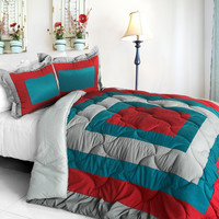 Loving the Sea Quilted Patchwork Down Alternative Comforter Set in Full/Queen Size