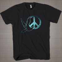 Dove-Peace Symbol Sign American Apparel Galaxy  Mens and Women T-Shirt Available Color Black And White