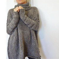 Women Fashion Casual Gray Irregular Pullover Turtleneck Sweater Autumn and Winter