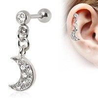 316L Surgical Steel Crescent Moon Dangle Cartilage Earring by Every Body Jewelry
