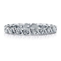 Sterling Silver 925 CZ Eternity Round Anniversary Women's Wedding Band Ring 4-10