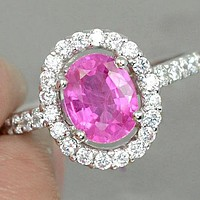 SALE Vintage 2CT Oval Cut Pink Sapphire Halo Engagement Ring