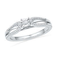 10kt White Gold Womens Round Diamond Solitaire Open-shank Bridal Wedding Engagement Ring 1/6 Cttw