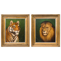 Pair of Wonderful English 19th Century Portraits of a Lion & Tiger