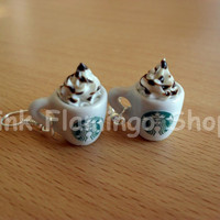 Starbucks Frappuccino earrings, made of polymer clay and ceramic - kawaii - miniature