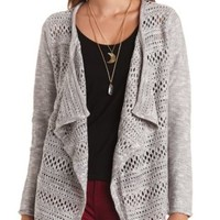 Open Knit Cascade Cardigan Sweater by Charlotte Russe - Lt Gray Combo