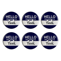 Yael Hello My Name Is Plastic Resin Button Set of 6
