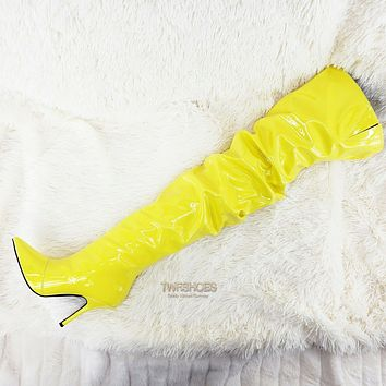 """CR Bold Yellow Patent Slouch Scrunch Shaft 4"""" High Heel Pull On Thigh Boots"""