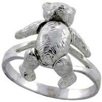 Sterling Silver Movable Teddy Bear Ring 7/8 inch, size 8