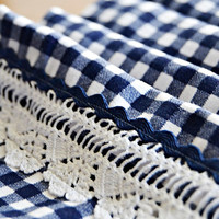Navy White Gingham Table Runner with Handmade Lace