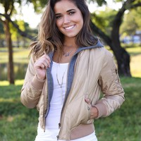 Khaki Jacket with Hood