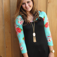 Black and Mint Floral Print Top