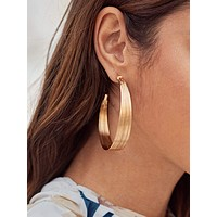 1pair Textured Hoop Earrings
