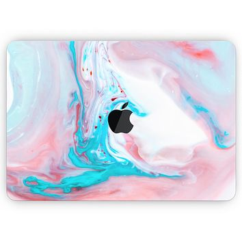 """Marbleized Teal and Pink V2 - Skin Decal Wrap Kit Compatible with the Apple MacBook Pro, Pro with Touch Bar or Air (11"""", 12"""", 13"""", 15"""" & 16"""" - All Versions Available)"""