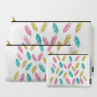 Carry-All Pouch Feather Pattern - Canvas-like fabric, Travel, Pocket, Feathers, Pattern, White, Traveler, Custom, Carry, Cosmetic, Make-up