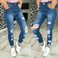 2016 New Hot Female Jeans Scratched ripped pencil pants full length middle waist hole skinny sexy jeans  hollow out women pants