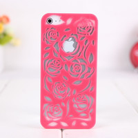 Rose Hollow out Relief Hard Cover Case FOR Iphone 4/4s/5