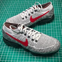 2018 Nike Air Vapormax Mesh Grey Red Sport Running Shoes - Best Online Sale
