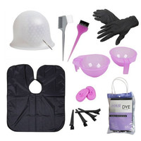 BMC Hair Dye Coloring DIY Beauty Salon Tool Kit- Highlighting Cap, Hook, Long Brush, Bowl, Clip, Cape
