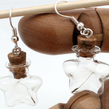 Dandelion Wish star glass vial earrings with dandelion clock seeds- Great spring eco jewellery- Wholesale and wedding favours available