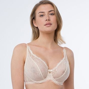 Sheer Lace Plunge Underwire Bra Anabelle