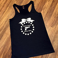 Keep Calm & Carry One-Keep Calm Shirt-2nd Amendment-Women Carry too-Second Amendment-Tank Top-Concealed Carry