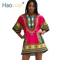 Dashiki Dress 2017 African Woman Traditional Print Dashiki Short Sleeve Bazin Riche T-shirt Clothing African Dresses For Women