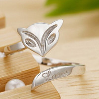 Womens Girls Fox Silver Ring Uniquering-105