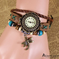 Women Vintage Leather Quartz Wrist Watch Dragonfly Style Cord Pull Bracelet Watches S022