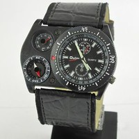 New Men's Military Thermometer Leather Band Outdoor Analog Watch