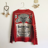80s Vintage Budweiser Sweater • Red Sweaters • Budweiser Beer