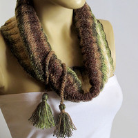 The Chunky Cowl Neckwarmer Scarf - multicolor scarf, Winter Cowl, tassel, hand knit, Winter Accessory, scarf, Knitted, Womens, choker