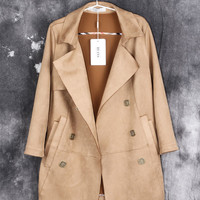 Beige Long-Sleeve Pocket Trench Coat With Belt