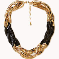 FOREVER 21 Colorblocked Snake Chain Necklace Black/Gold One