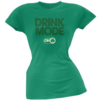 St. Patrick's Day - Drink Mode On Kelly Green Soft Juniors T-Shirt