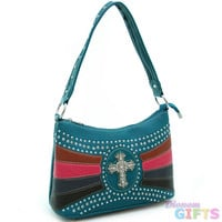 Studded shoulder bag with rhinestone cross accent - turquoise/ mixed Color: Turquoise/ Mixed