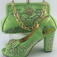 Lemon Green Italian Leather Handbags And Matching Shoes Set With Stones Fashion