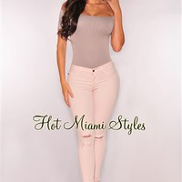 Blush Ripped Knee Stretchy Skinny Jeans