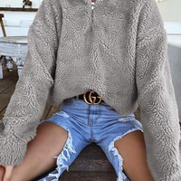 New Grey Zipper Band Collar Long Sleeve Oversize Teddy Fashion Coat