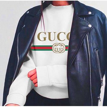 Gucci White Woman Men Top Print Leisure Round neck Sweater
