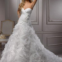 Diamond White Ruched & Ruffled Organza Floral Applique Strapless Sweetheart Shania Wedding Gown - Unique Vintage - Cocktail, Pinup, Holiday & Prom Dresses.