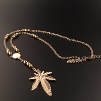 18k Gold Plated Weed Leaf Rosary Necklace