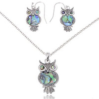 Cute Silver Tone Faux Abalone Shell Body Wide Eyed Owl Earring and Necklace Set
