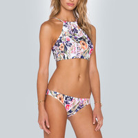 High Neck Bikini Floral Bathing Suit Swimsuit Swimwear