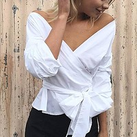 Off Shoulder Striped Blouse Shirt Sexy Ruched Sleeve Cool Tops Women Waist Tie Cotton Top Tees Blusa