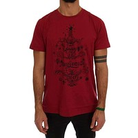 Dolce & Gabbana Red Cotton 2017 Motive Print T-Shirt