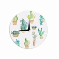"Danii Pollehn ""Plants & Cacti""  Green White Illustration Wall Clock"