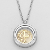 """Floating Monogram """"P"""" Necklace Silver"""
