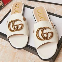 GUCCI Fashion New Letter Flip Flop Slippers Shoes Beige&White